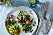 "Split Pea ""Meatballs"" with Pistachio Yogurt"