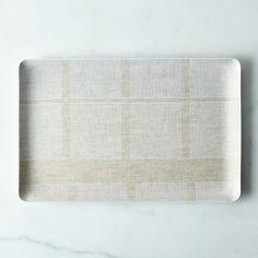 Melamine & Linen Rectangular Tray