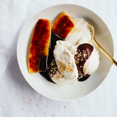 Hot Fudge Sundae with Brûléed Bananas and Salty Sprinkles