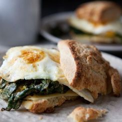 Breakfast Sandwich with Cheddar and Mustardy Greens