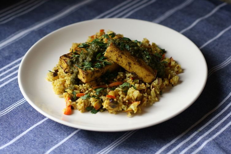 Mideast Grilled Tofu with Studded Rice & Spicy Herb Sauce
