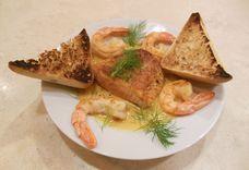 Salmon and Shrimp in Saffron Cream Sauce