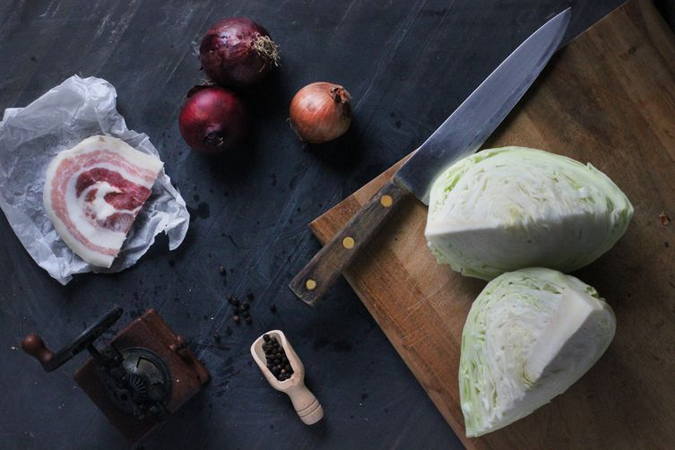 Braised Cabbage with Caramelized Onion and Pancetta (or Not)