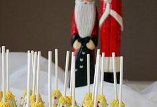 White Christmas tree cake pops