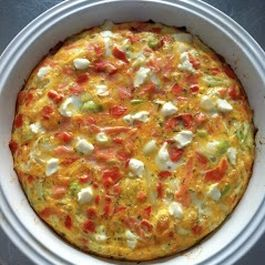 Breakfast Bake - Leeks, Smoked Salmon, Cheddar and (a little) cream cheese