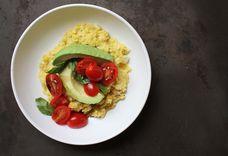 Fresh Corn Polenta with Avocado and Tomato Salad