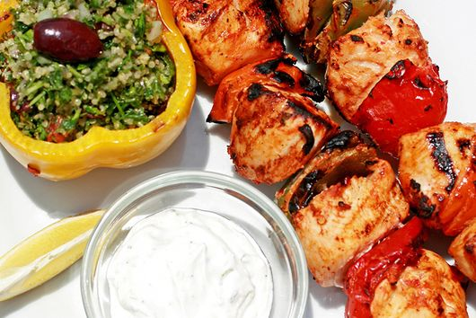 Stuffed Peppers and Grilled Chicken Skewers