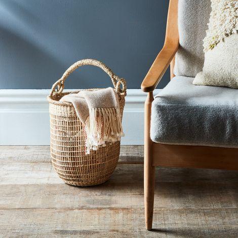 Handwoven Rattan Basket with Handle