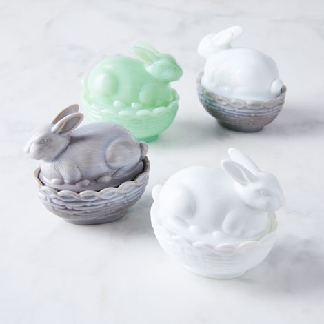 Glass Bunny Candy Dish (Set of 2)