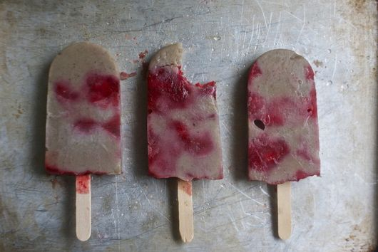 Roasted Banana Strawberry Popsicles