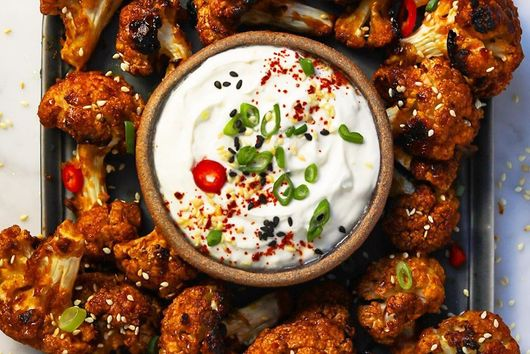Korean-Style Cauliflower 'Wings' With Creamy Ginger-Sesame Dip