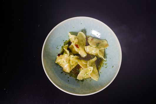 PRAWN AND CHIVE DUMPLINGS WITH KAFFIR LIME