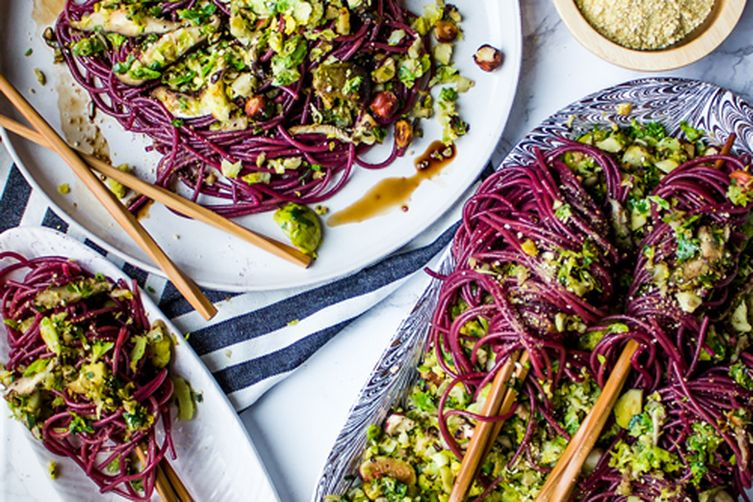 Boozy Holiday Noodles with Warm Brussels Slaw