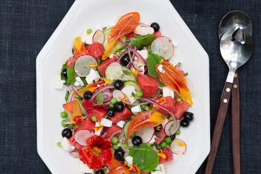 Summer Celebration Salad with Feta, Watermelon, Berries and Petals