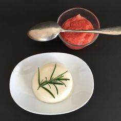 Rosemary Pannacotta with Orange scented Rhubarb