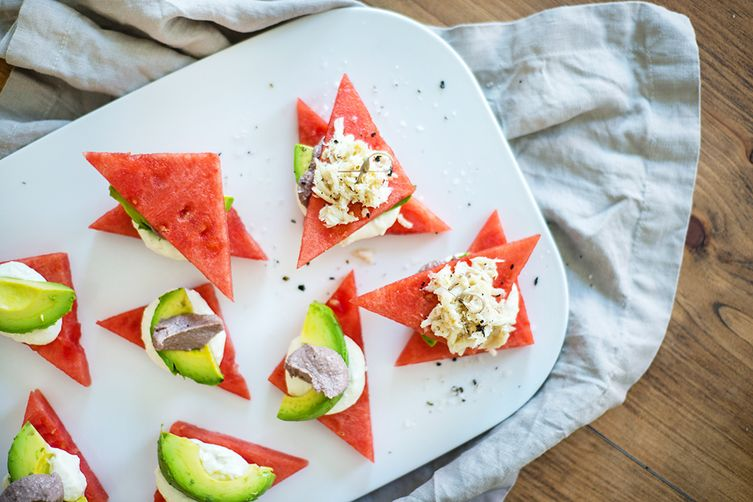 Watermelon Avocado Crab Stack with Whipped Crazy Feta