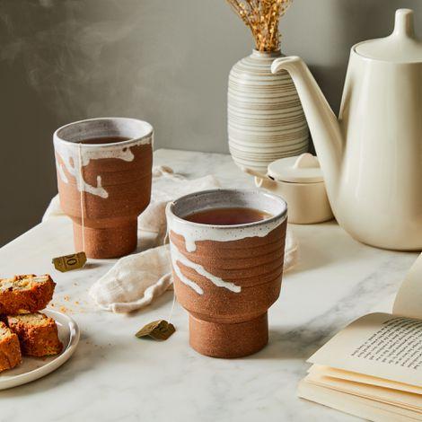 Handmade Ceramic Holding Mugs (Set of 2)