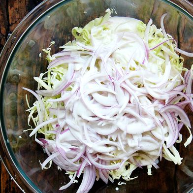 Cabbage and Red Onion Slaw