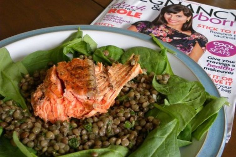 Fennel-Scented Salmon atop a Lentil and Spinach Salad
