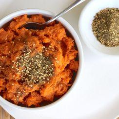 Mashed Sweet Potatoes with Clif Family Kitchen Classic Hazelnut Dukkah