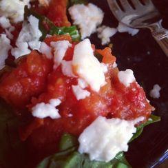 Roasted Tomatoes on Sautéed Kale