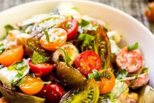Creamy Roasted Chickpea Tomato Salad