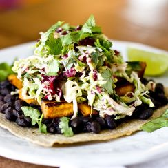 SWEET POTATO TOSTADAS WITH BRUSSELS SPROUT + RADICCHIO SLAW