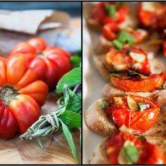 Roasted Heirloom Tomatoes on Multigrain Baguette