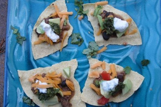 "Chile Colorado Tostadas with Pumpkin Seed and Cilantro ""Pesto"""