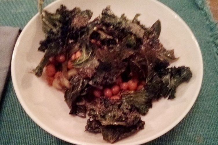 Soft and crunchy veggie, greens and chickpea winter bowl