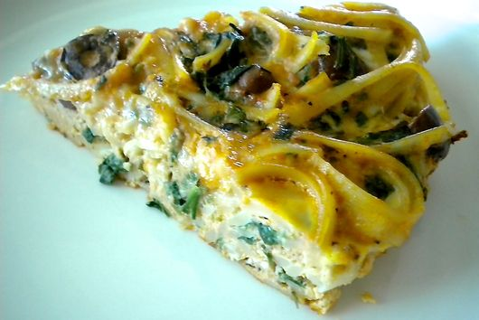 Spinach and Olive Pasta Frittata