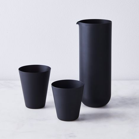 Hand Blown Japanese Frosted Black Tumblers & Carafe