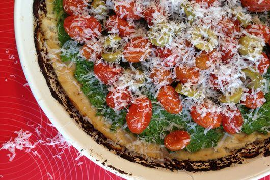 Gluten Free Cauliflower Kale Pesto Pizza