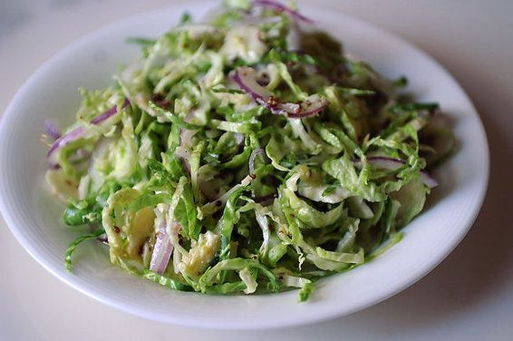 Shaved Brussels Sprout Salad with Red Onion, Lemon, and Pecorino