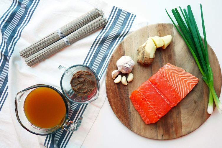 Miso and Ginger Poached Salmon with Warm Soba Noodles Recipe on Food52