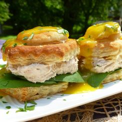 Salmon Mousse Pastry Puffs with Zesty Mango Drizzle