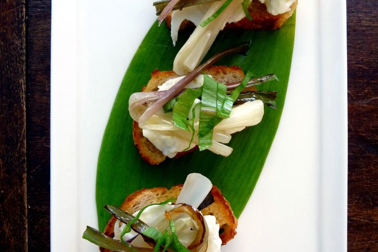 Crostini with Sautéed Ramps