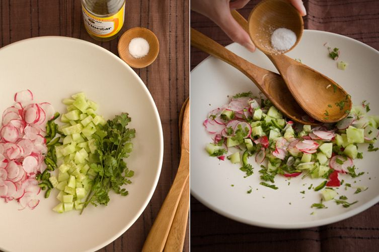 Hot radish and japanese cucumber salad