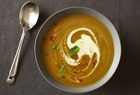 Pumpkin Eater:  Winter Squash Soup with (Less) Red Chile and Mint
