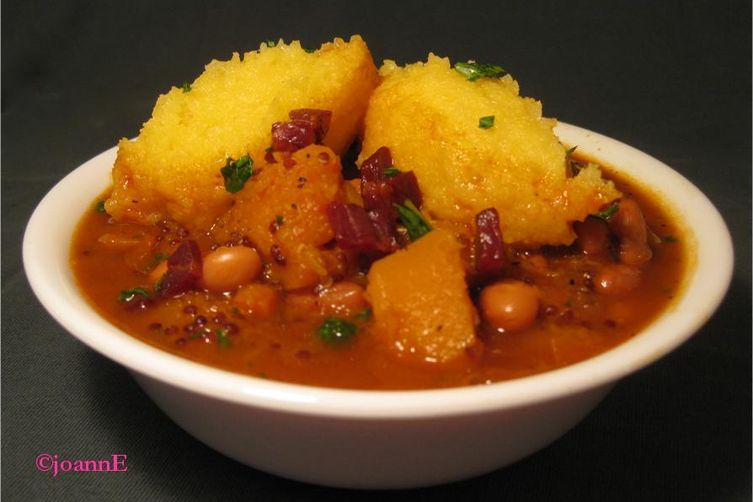 Porotos Granads with Polenta Dumplings