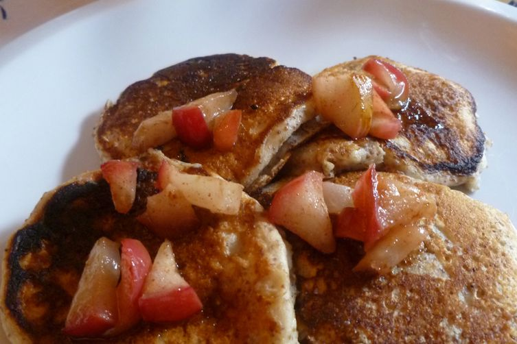 Teff Grain and Ricotta Pancakes with Apple Topping