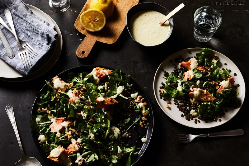 Herbes de Provence in the salmon rub and yogurt dressing, plus lots of lemon and fresh greens, keep things bright and lively.