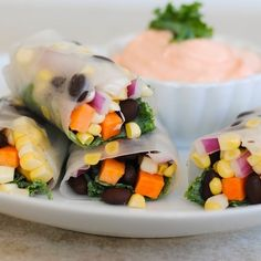 Crunchy Veggie, Kale & Black Bean Spring Rolls