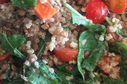 Quinoa and lentil salad with arugula