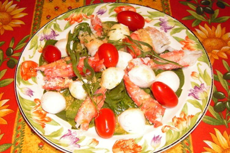 Spinach, Crab and Fresh Mozzarella Salad   (Paula Salad)