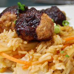 Asian Meatballs w/ Fried Rice