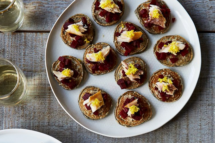 Blini with Horseradish, Beets, and Smoked Trout