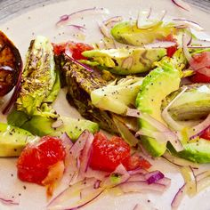 Charred Lettuce, Avocado and Ruby Grapefruit salad