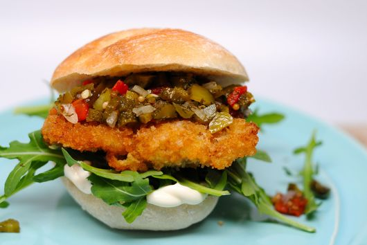 Fried Chicken and Homemade Pickle Relish Sandwich