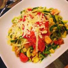 Zucchini Spaghetti with Corn and Roasted Tomatoes